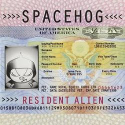 Spacehog - Resident Alien (2LP) - British Passport gatefold sleeve, cream with pink splatter vinyl pressing.