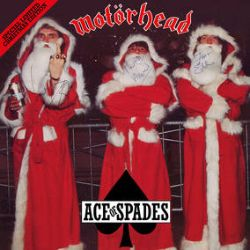 """Motörhead - Ace of Spades - Holiday Edition (12"""") - 40th anniversary 12"""" featuring OG mix, & unreleased instrumental. Red vinyl with ornament & three scary looking Santas. <br> (RSD087)"""