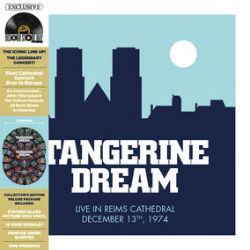 """Tangerine Dream - Live At The Reims Cathedral (2LP Pic Disc) -  In 1974, more than 6000 fans gathered in the Reims Cathedral as this was the first time a church in Europe had a live concert. After this show any pop performance was forbidden in a catholic church by the Vatican. Gatefold jacket with a 16 page booklet. 2 screen printed vinyl featuring the reproduction of Reims """"Stained Glass"""". Never released before. (RSD403)"""