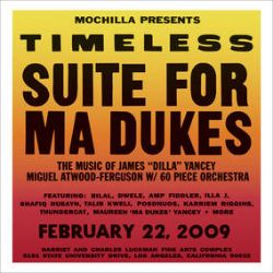 """Various Artists - Mochilla Presents Timeless - Suite For Ma Dukes (2LP) - Housed in full color gatefold jackets with the vinyl housed in printed inner sleeves. In 2009, Brian Cross (aka B+) organized the Timeless series in Los Angeles and captured the lasting impact of several artists on the world of Hip Hop and beyond. Live fully orchestrated performances by Ethiopia's Mulatu Astatke and Brazil's Arthur Verocai bookended the incredible Suite For Ma Dukes, a tribute to James """"Dilla"""" Yancey, by Miguel Atwood-Ferguson. These superb quality live recordings, now long out of print, are back in effect for RSD 2021. (RSD2170)"""